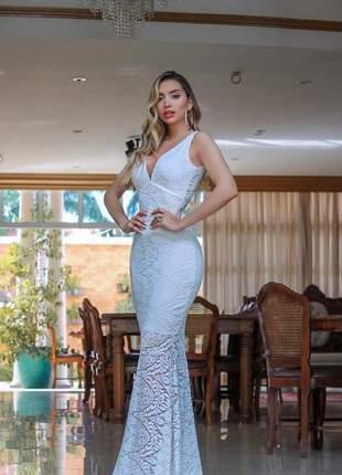 6b7d45c62 Vestido longo renda bojo sereia noiva branco off white lançamento