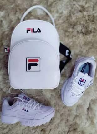 Kit tênis fila disruptor mais bolsa fila combinação perfeita