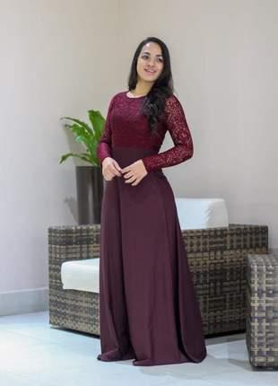 Vestido longo suplex com renda poliamida moda evangelica festa gospel + cinto brinde