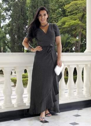 Vestido longo transparente lurex prata - 5888