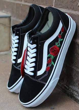 Vans old skool preto flor tribal