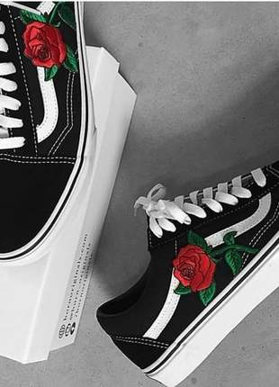 Vans old skool preto / flor