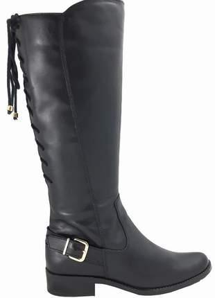 Bota feminina montaria ajustável - preta - couro - ref. 9100