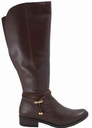 Bota feminina montaria - café - couro - ref. 3955