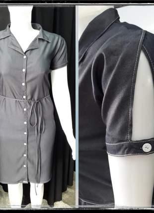 Vestido manga curta de chambray