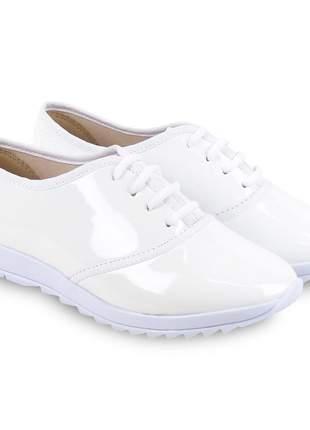 Sapato tênis branco verniz izzaluna queima de estoque