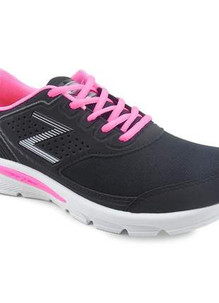 Tênis feminino zeus esportivo academia barato branco/preto/pink
