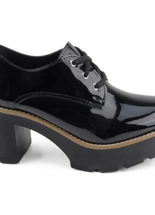 Sapato tênis com salto oxford plataforma feminino flatform sola tratorada verniz preto