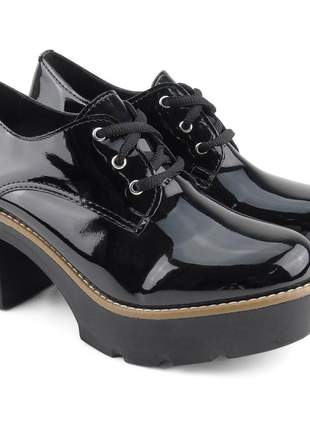 Sapato oxford feminino tratorado verniz salto grosso