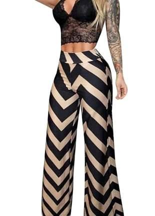 Calça pantalona zig zag moda instagram ref 3213