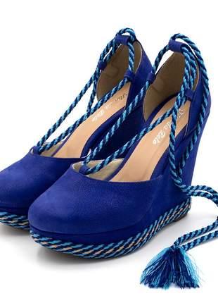 Sandália anabela salto plataforma camurça azul royal