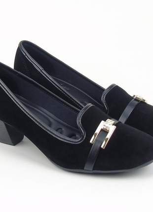 Sapato social feminino salto baixo azaleia lev camurça na cor preto