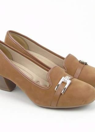 Sapato social feminino salto baixo azaleia lev camurça na cor marrom