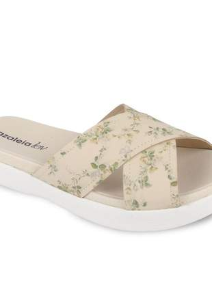 Sandália plataforma anabela salto baixo feminina florida bege flatform confortavel leve