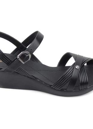 Sandália preta feminina salto grosso baixo anabela festa moda