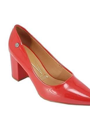 Sapato scarpin salto grosso vizzano 1290.400 verniz vermelho