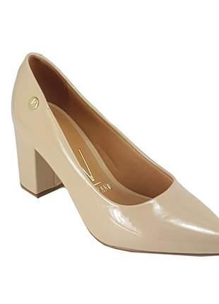 Sapato scarpin salto grosso vizzano 1290.400 verniz bege
