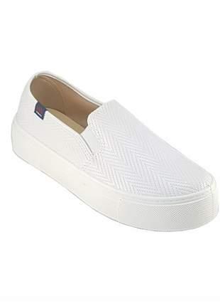 Tenis casual slip on moleca flatform branco