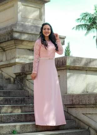 Vestido longo moda evangelica com renda em poliamida