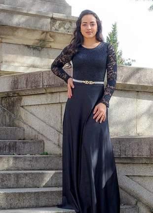 Vestido longo suplex com renda poliamida moda festa madrinha casamento