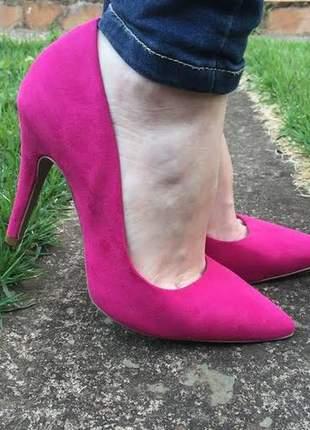 Scarpin elegance pink fúcsia salto 10 cm bico fino