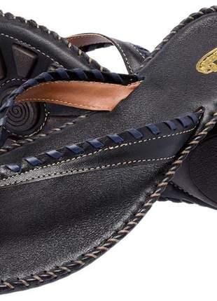 Sandália rasteirinha feminina em couro 2140 preto