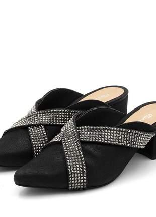 Mule sapatilha feminina bico fino salto grosso nocucado preto com stráss