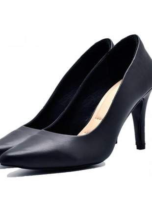 Sapato scarpin salto alto fino em napa preta