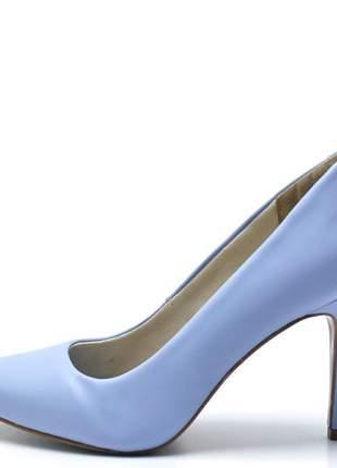 Sapato scarpin salto alto fino em napa azul serenity