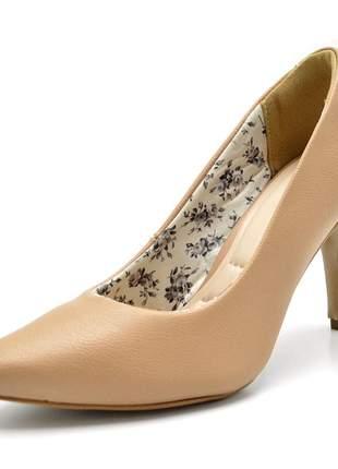 Sapato scarpin salto alto fino em napa nude