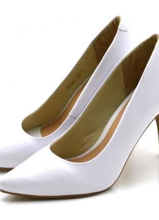 Sapato scarpin salto alto fino em napa branca