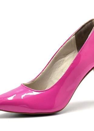 Sapato scarpin salto alto fino em napa verniz rosa pink