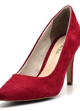 Sapato scarpin salto alto fino em nobucado vermelho