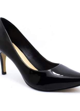 Sapato feminino scarpin sobressalto  verniz preto