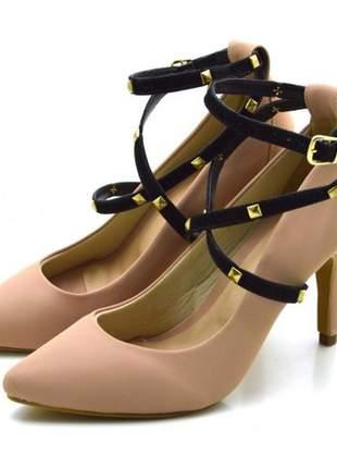 Sapato scarpin salto alto com alças em napa nude