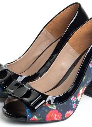 Sapatos femininos peep toe floral
