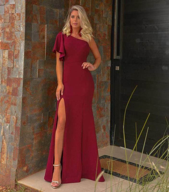 Vestido Feminino Longo Vinho Marsala De Festa Fenda Madrinha Formatura R 14990 Shafa O Melhor Da Moda Feminina