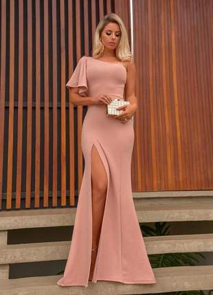 Vestido feminino longo rose de festa fenda madrinha formatura
