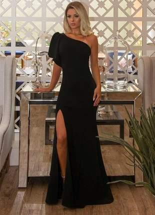 Vestido feminino preto longo de festa fenda madrinha formatura