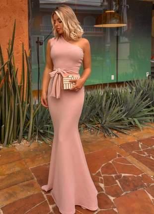 Vestido feminino rose de festa madrinha formatura um ombro laço
