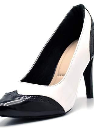 Sapato social scarpin branco/preto salto fino