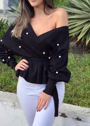 Blusa tricot ciganinha com pérolas