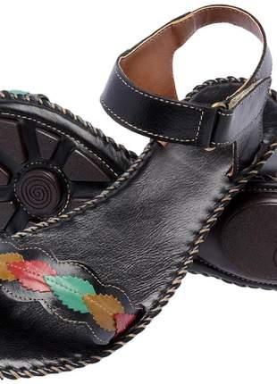 Sandália rasteirinha feminina em couro 2187 preto