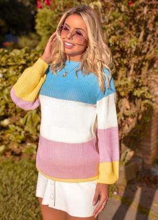 Blusa de frio tricot listrado listras coloridas candy color