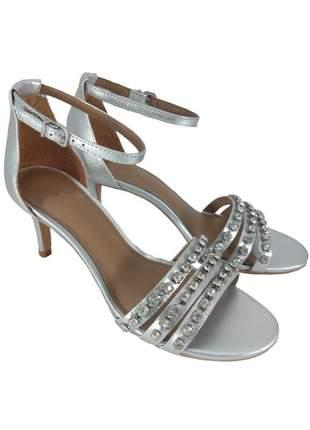 Sandália salto topgrife pedraria couro prata