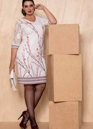 Vestido forrado em crepe rustic florais - cassia segeti
