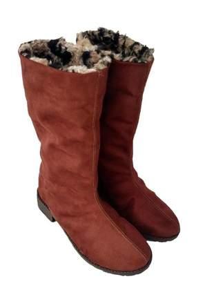 Bota de pelo sapatoweb dobrável marrom