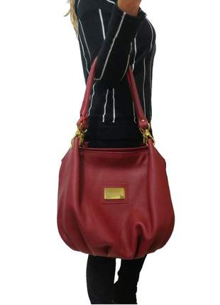 Bolsa saco topgrife couro vermelho