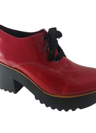 Oxford salto grosso sapatoweb verniz vermelho