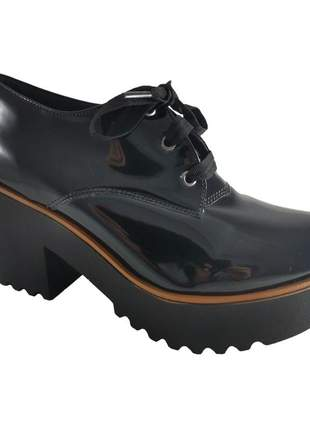 Oxford salto grosso sapatoweb verniz preto